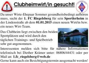 Clubheim Wirt/In gesucht